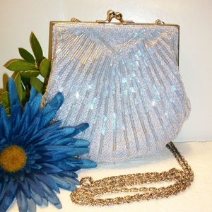 ❄️HP❄️VALERIE STEVENS Beaded Evening Bag Blue NWOT